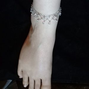 Silver and crystal ankle bracelet